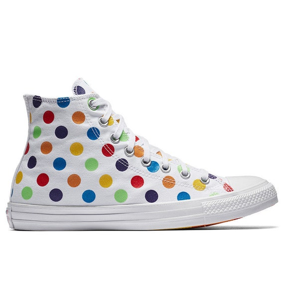 White Pride Converse High 2018 Rainbow Glitter Parade Polka Dot Ladies Custom LGTBQ w/ Swarovski Crystal Chuck Taylor All Star Sneakers Shoe