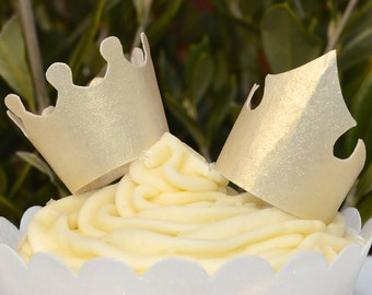 Edible Royal Gold Crowns Tiaras 3D King Queen Princess Prince Wafer Rice Paper Birthday Decorations Golden Metallic Party Cupcake Topper
