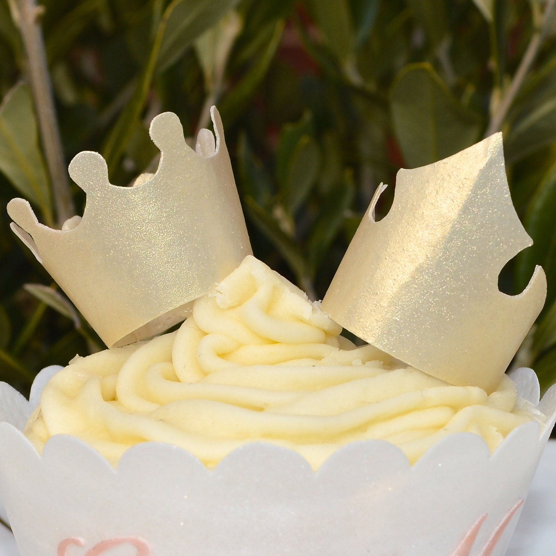 Edible Gold Crowns Tiaras 3D King Queen Princess Prince Wafer