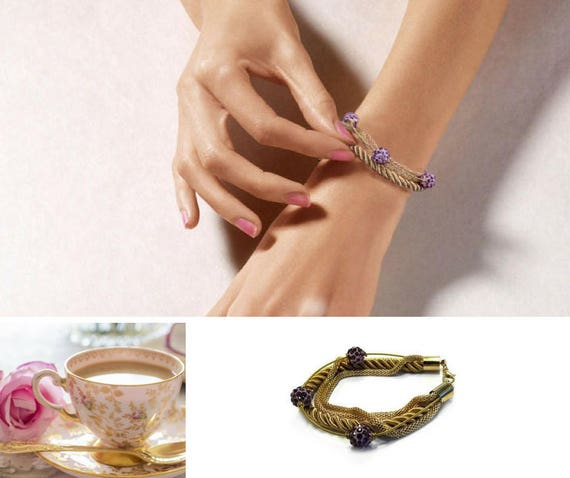 Golden Chain Bracelet  with Pink Purple Beads