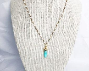 Turquoise Howlite Pendant on White Beaded Chain