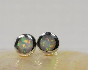 Opal  Earrings Studs Earrings Post Earrings Sterling Silver Jewelry