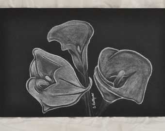 White Charcoal Calla Lilies