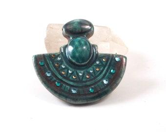 Egyptian Pendant Raku Pottery