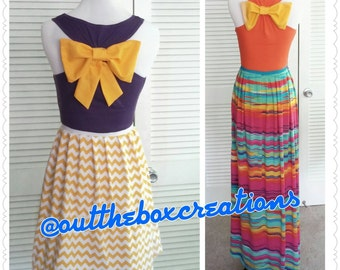 Bow addition to maxi dress, bow back dress, bow shirt, bow addition
