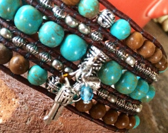 Handmade Beaded Cuff Bracelet, chalk turquoise, gemstones and metal beads, leather wrap bracelet with route 66 metal button closure