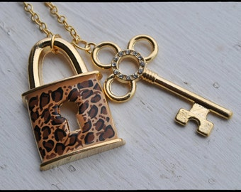 Beautiful Gold Animal print Lock with a  Rhinestone Key