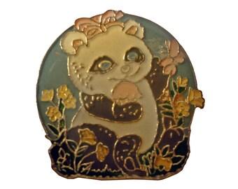 HEAVEN SCENT cute vintage enamel pin 1980s skunk smelling flowers sent