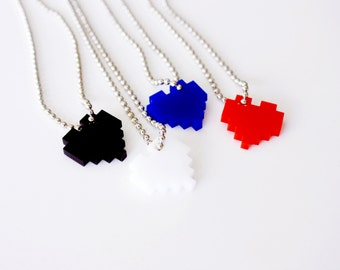 "Acrylic Pixel Heart Necklace, You Pick 2 Geek Gamer Jewelry Set, ""I Love You in Pixels"" in Red, Blue, Black, White"