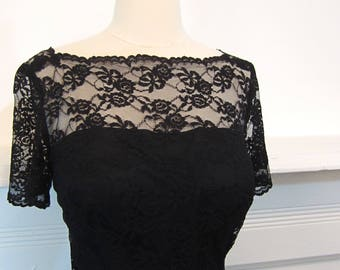 1950's/1960's Black Lace Wiggle Dress