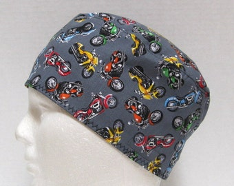 Mens Scrub Hat or Surgical Cap with Motorcycles on Gray