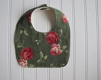 Girls's Baby Bib - Floral Bib - Drooling Bib - Infant Bib - Early Feeding Bib - Floral Bib - Baby Gift - Made 4U Handmade Designs