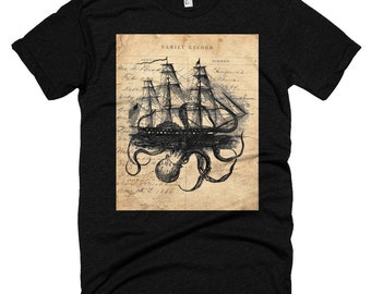 Octopus kraken attacking ship Short sleeve soft t-shirt  SHT8834