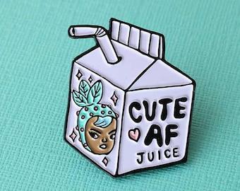 Cute AF Juice Enamel Pin // MEL STRINGER Collab, cute girl pin, juice box pin badge, pingame // EP188