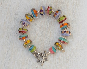 """ZenHappy """"Party Colors"""" Bracelet -  Handmade Lampwork Beads in Multi-Colored Brights and Sterling Silver - Statement Jewelry"""