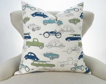Vintage Cars Floor Pillow -up to 28x28 inch- Navy Blue Green Euro Sham, Big Pillow, Kids Room, Retro Rides Felix Premier Prints, FREESHIP