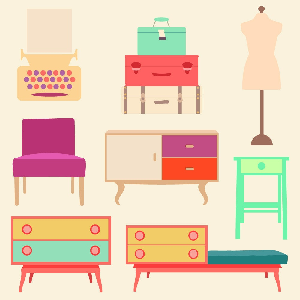 Retro Living Room Cliparts And Printables Vintage
