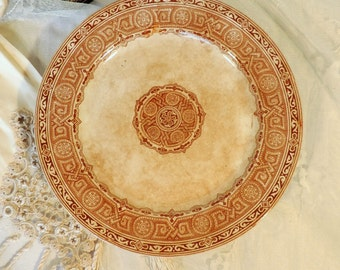 Gildea & Walker Clovis cake stand, cake plate. antique English stone ware, faience transfer ware from the 1880s