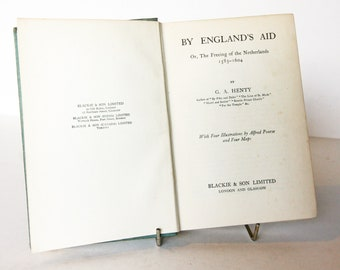 By Englands Aid Antique Adventure History 1910s Vintage Book Hardback old book antique Novel book