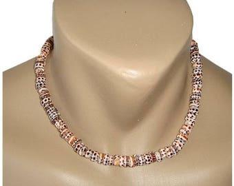 Hawaiian Jewelry Handmade Tiger Puka Shell Choker Necklace with Koa Wood Bead Accents from Maui, Hawaii