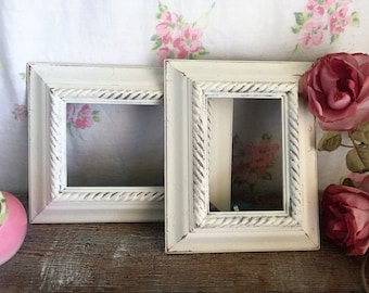 White Painted Picture Frames -  set of 2 matching shabby chic frames -What you see is what you get, WEDDING, French Country with glass