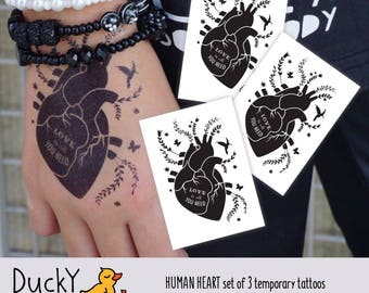 """Set of 3 temporary tattoos Human heart with """"Love is all you need"""" lettering. Wedding and bachelorette party favors, St Valentine's day gift"""