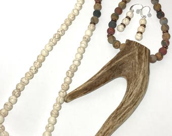 Antler Necklace & Matching Earrings