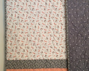 Modern baby quilt, gender neutral quilt, handmade quilt, baby/toddler/teen quilt, gray, peach, white, baby bedding