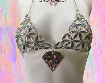 Bra, Bralette, festival, Holographic, Mermaid, Burning Man, festival clothing, rave clothing, rainbow, crop top, pole dance, gift for her