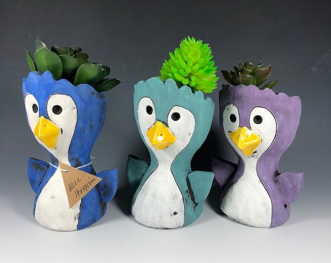 Little Pothead Peeps Penguins // Small Planters // Birds // Arctic // Succulent Pot // Home Decor // Handmade // One of a Kind // unique