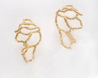 Gold Statement Earrings, Gold Bridal Earrings, Wedding Earrings Gold, Natural Earrings, Silver Wing Earrings, Bridal Earrings Vintage Silver
