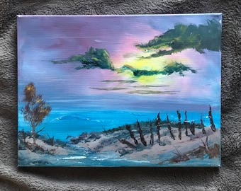 original acrylic painting, landscape painting, beach tide pools at sunrise, 12x16 painting, acrylics on canvas