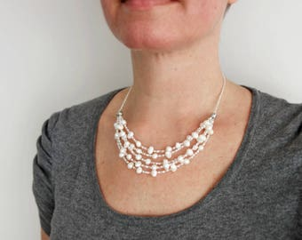 White bib necklace multi stranded necklace white freshwater pearls seed beads statement necklace for women