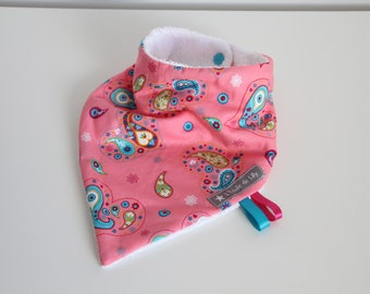 Pink and turquoise blue Bandana bib