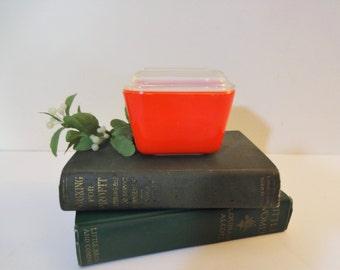 Vintage Pyrex Primary Red Refrigerator Dish with Lid -Tomato Red Pyrex 501 Refrigerator Dish - 1  1/2 Cups