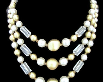 Vintage White Faux Pearl Gold Lucite Rock Crystal 3 Strand Multistrand Japan Necklace