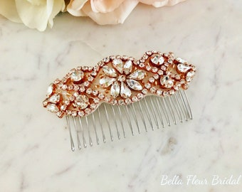 Rose Gold Bridal Hair Comb- Rhinestone and Pearl Bridal Hair Comb- Bridal Headpiece- Rose Gold Rhinestone Bridal Comb