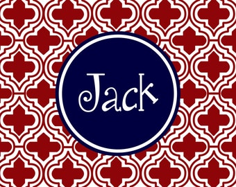 Personalized Placemat - preppy print 12x18 laminated placemat