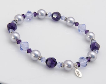 Lavender Bridesmaid Bracelet Lavender Pearl Purple Bracelet with Swarovski® Crystal, Purple Bridesmaid Jewelry