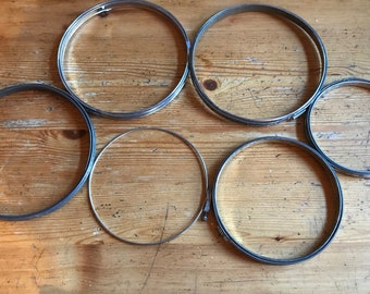 "6 vintage embroidery hoops  all metal 7""-3   6""-1  6"" 1 that is thin and unusual as shown 5"" - 1"