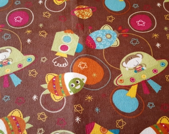FLANNEL- Brown with monkeys in spaceships.
