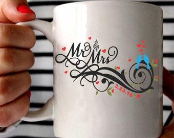 Custom Mr. & Mrs. Coffee Mug, Mr. Mrs Mug, Couples Mug, Wedding Date Mug, Wedding Gift Mug, Bride and Groom Gift, Lovebirds Mug, Love Mug