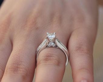 1.77 Carat Princess Cut Diamond Engagement Ring, Square Cut Diamond Ring, Princess Ring, Wedding Ring, Bridal Ring, 14k White Gold