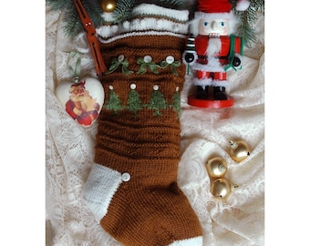Christmas Stocking Knitting Pattern Instant PDF DOWNLOAD Decoration Gift Idea Photo Prop Idea