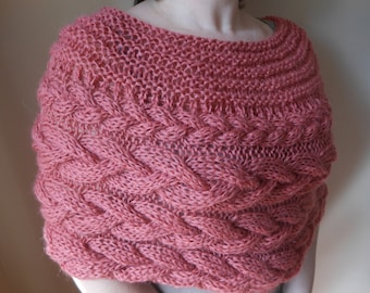 Cable Knitted Shawl Capelet Wedding Shrug Poncho Neck Warmer  Coral