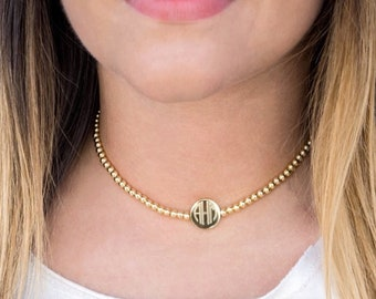Monogrammed Necklace, Choker Bead Necklace, Gold, Silver