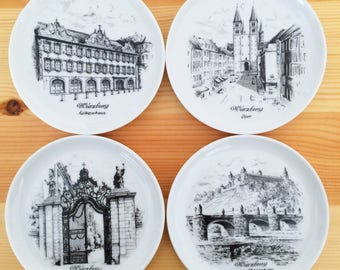German Collectible-Gift for Her-Gift for Oma-Gift for Military-Wurzburg Souvenir-Castle Plates