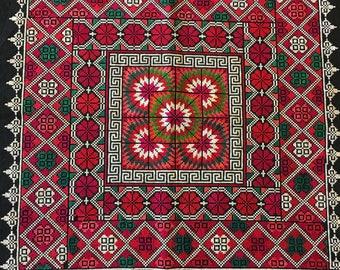 Vintage Batik Cross Stitch Textile Square