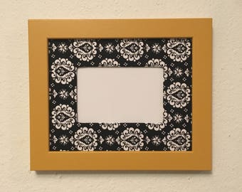 Picture Frame Upcycled Handpainted Yellow , 8x10 Frame with Mat , Fabric Wrapped mat , Unique Decor , 4x6 Photo