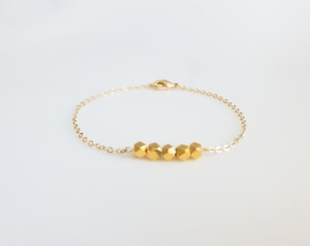 Gold bracelet,  Gold Vermeille beaded bracelet, delicate bracelet, Tiny bracelet, gifts for girls, minimalist jewelry, delicate jewelry